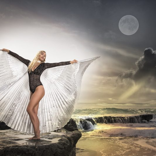 model with wings